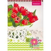 """Блокнот А5 """"Тюльпаны в корзинке"""", 48 л., на цветной спирали, Б48-5854 фото"""