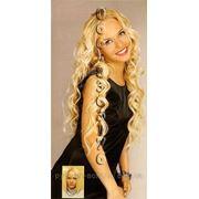 Волосы на заколках волнистые 50 см. Блонд. фото