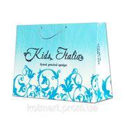 """Нанесение логотипа на бумажный пакет, сумка """"Kids Italia"""" фото"""