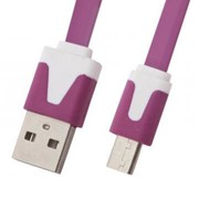 USB кабель «LP» Micro USB плоский узкий (сиреневый/европакет) фото