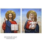 Пара Венчальных Икон Спаситель И Леушинская Богородица - Великолепные Писаные Иконы Код товара: ОГр-08 фото