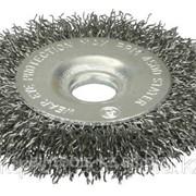 Щетка Stayer дисковая для УШМ, сплет в пучки стальн зак провол 0,5мм, 150мм/22мм Код:35190-150 фото