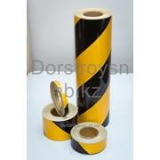 Лента световозвращающая черно-желтая на клейкой основе фото