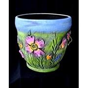 """Горшок для цветов из керамики ручной работы """"Велетень цветы"""" фото"""