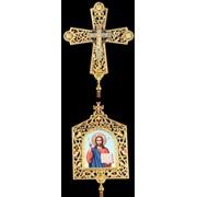 Крест-икона № 48 запрестольная фото на пластике выпиловка гравировка золочение с древками фото
