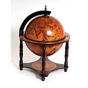 Глобус-бар классический, на ножках. Диаметр сферы 33 см. фото