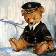 Тедди пилот, холст, масло, А.Рябчевская, 40х40 фото