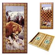 Нарды в деревянной коробке Медведь фото