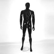 Манекен для одежды мужской ростовой глянцевый натуралистический стоячий, черный. MGM16B фото