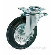 Колесо поворотное c тормозом. 160, 200 мм, метал резина фото