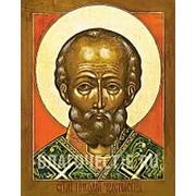 Мастерская копий икон Николай Чудотворец, святитель, копия именной старинной иконы на иконной доске (ручная работа) Высота иконы 12 см фото