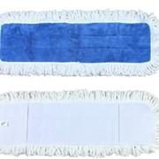 Тряпка для швабры голубая, влажная уборка, двойная система Cotton Flat Wetmop 40cm Blue-White Double Function фото