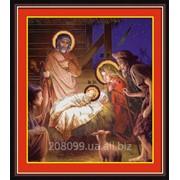 "Набор для рисования камнями на холсте ""Рождество Христово"" 5D-030 фото"