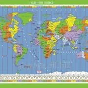Світ. Годинні пояси. Навчальна карта (на картоні на планках) фото