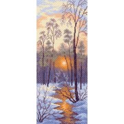 Рисунок на канве р.24/47 Зимний закат фото