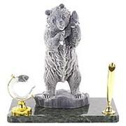 """Сувенирная подставка для ручек """"Медведь"""" змеевик мрамолит фото"""