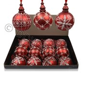 Шар стекл. красный матовый с белым блеском фото