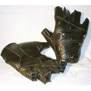 Перчатки без пальцев байкерские кожаные ручная работа фото