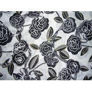 Хлопок набивной Розы черные фото