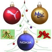 Шары новогодние елочные под нанесение логотипа компании фото