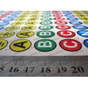 Наклейки для электрических шин с символами A, B, C, N, Заземление (маркировка шин, фаз) фото