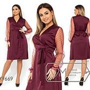 Платье женское из атласа (2 цвета) - Марсала АК/-2227 фото