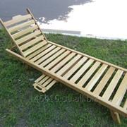 Шезлонг из дерева для бассейна, лежак пляжный, садовый, дачный фото