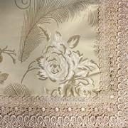 Скатерть с вышивкой и кружевным краем 2004 фото