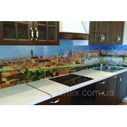 Стеклянный кухонный фартук дневной город купить в Пятихатках фото