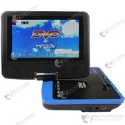 Портативный DVD медиаплеер 7.5 дюймов с телевизором, FM радио, поддержкой чтения DVD дисков, USB флешек и карт памяти фото