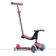 Детский трехколесный самокат Globber My Free Seat Titanium 4in1 Lights розовый фото