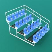 Трибуна спортивная 4х-ярусная (20 мест) с пластиковыми сиденьями и с перилами по торцам ТЗПП-4-20 фото