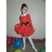 Платье для девочки с белым воротником и поясом из эко-кожи (2 цвета) фото