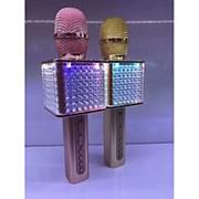 Беспроводной караоке микрофон YS-86 с динамиком и подсветкой (золото) фото