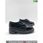 Ботинки CHANEL Шанель черные лаковые фото