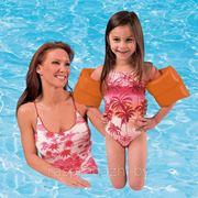 Надувные нарукавники для плавания Intex 59640 оранжевые 19 х 19 3-6 лет фото