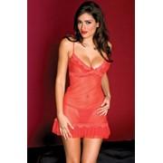 Прозрачное красное платьице в горошек ML-56013 фото