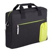Сумка для ноутбука Silicomp, черная с зеленым фото