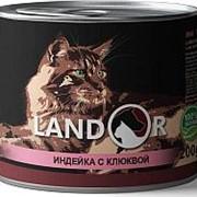 Landor 200г конс. Влажный корм для взрослых стерилизованных кошек Индейка и клюква фото