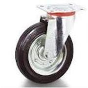 Ролики промышленные поворотные с тормозом и черной резиной SCb фото