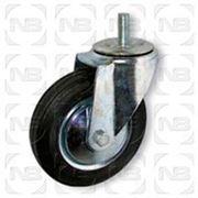 Ролики промышленные поворотные с черной резиной и болтовым креплением фото