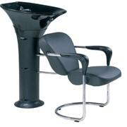 Парикмахерская мойка с креслом и керамической поворотной раковиной фото