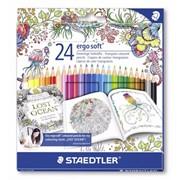 Набор карандашей цветных Staedtler Noris color, Johanna Basford, шестигранные, картонная коробка 24 цвета фото