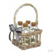 Бутылочки стеклянные для хранения 120мл с пробкой и корзинкой из ивы Home Made Kitchen Craft 4шт (103543) фото