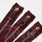 Молния металлическая, №5, бордо (никель) - 10 см фото