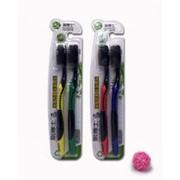 Набор зубных щётк с угольным и турмалиновым напылением 2 шт. фото