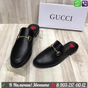 Мюли Gucci Princetown Гуччи черные фото