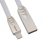 USB кабель Zetton USB SyncCharge Flat Soft TPE Data Cable USB to Lightning белый (ZTUSBFSTWEA8) фото