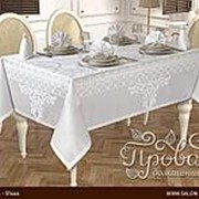 Скатерть прямоугольная с салфетками Karna VIP COTTON жаккард белый 160х300 фото