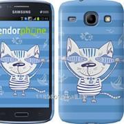 Чехол на Samsung Galaxy Core i8262 Смешной Кот-моряк в тельняшке с рыбами 3209c-88 фото